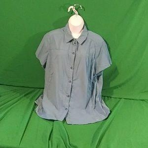 REI XL tactel nylon blue short sleeve outdoo shirt